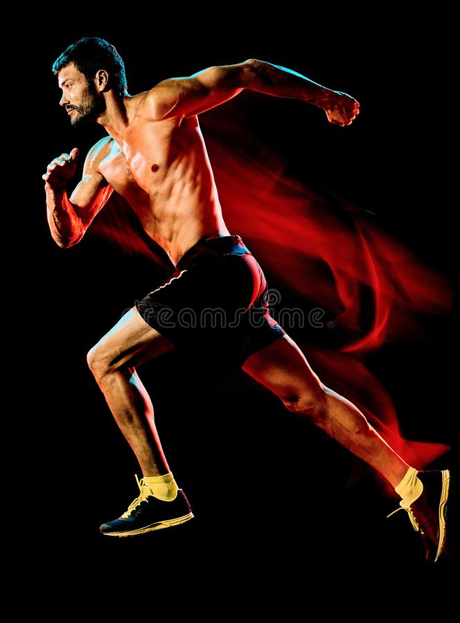 Topless muscular man runner. running jogger jogging isolated black background stock image