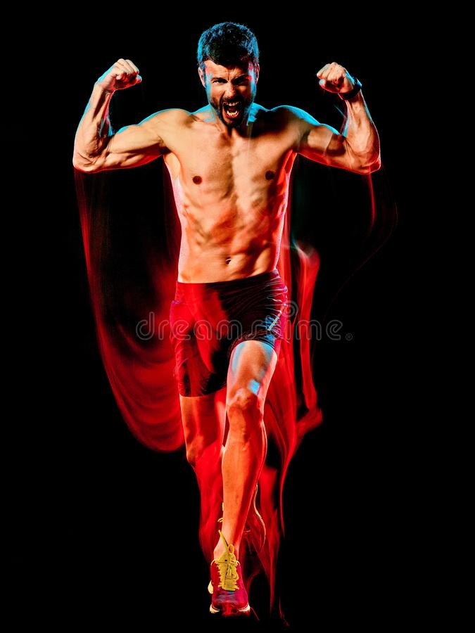 Topless muscular man runner. running jogger jogging isolated black background stock images
