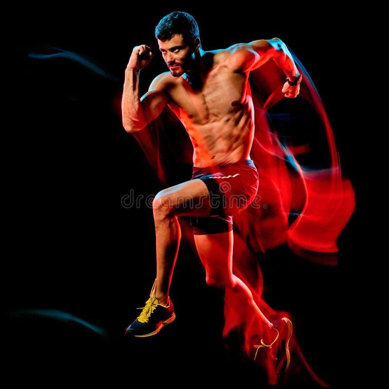 Topless muskulös manlöpare körande jogger som joggar isolerad svart bakgrund royaltyfri fotografi
