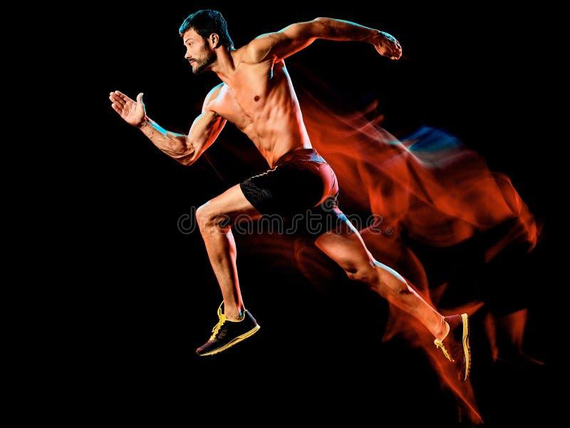Topless muskulös manlöpare körande jogger som joggar isolerad svart bakgrund royaltyfria bilder
