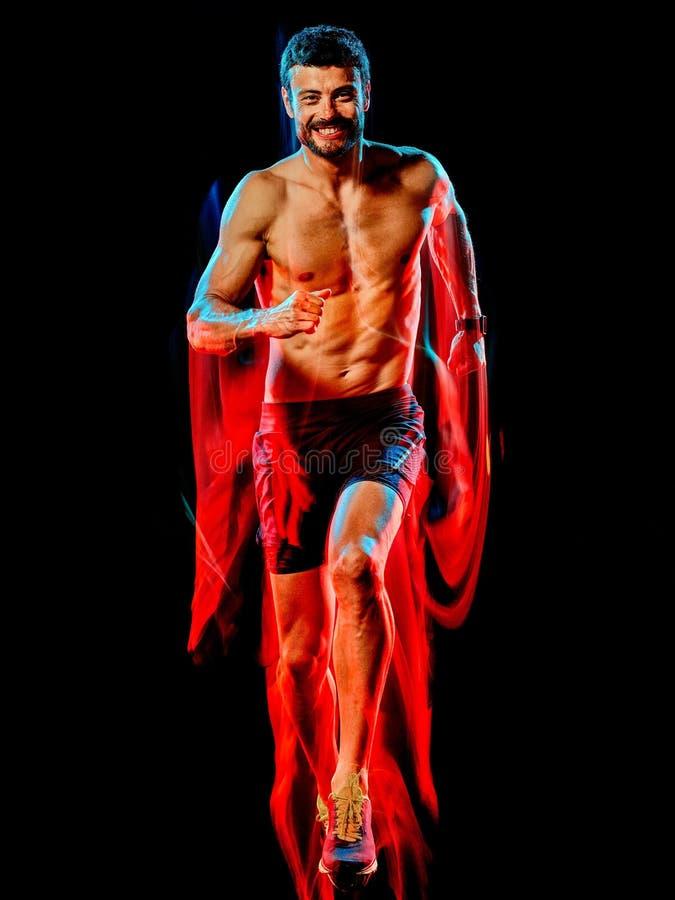 Topless muskulös manlöpare körande jogger som joggar isolerad svart bakgrund fotografering för bildbyråer