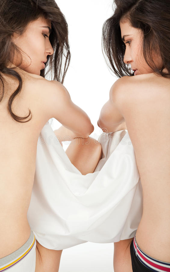 Download Topless twin girls stock photo. Image of beautiful, topless - 16618610