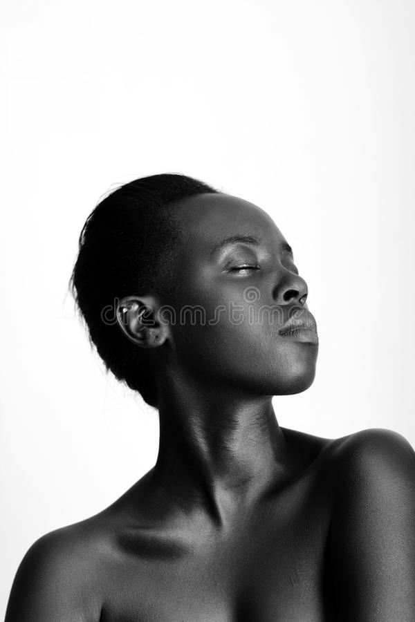 Topless Woman With Eyes Close royalty free stock photos