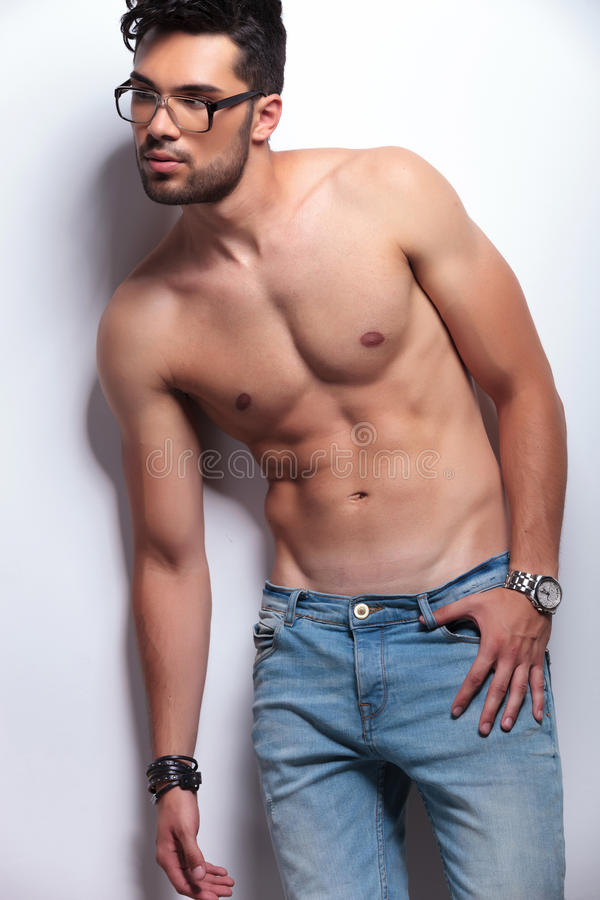 Download Topless Young Man Looking Away Stock Image - Image: 32878353
