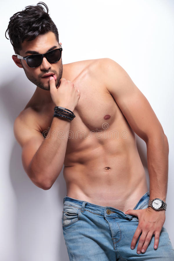 Free Topless Young Man Touches His Lip Stock Image - 32878331