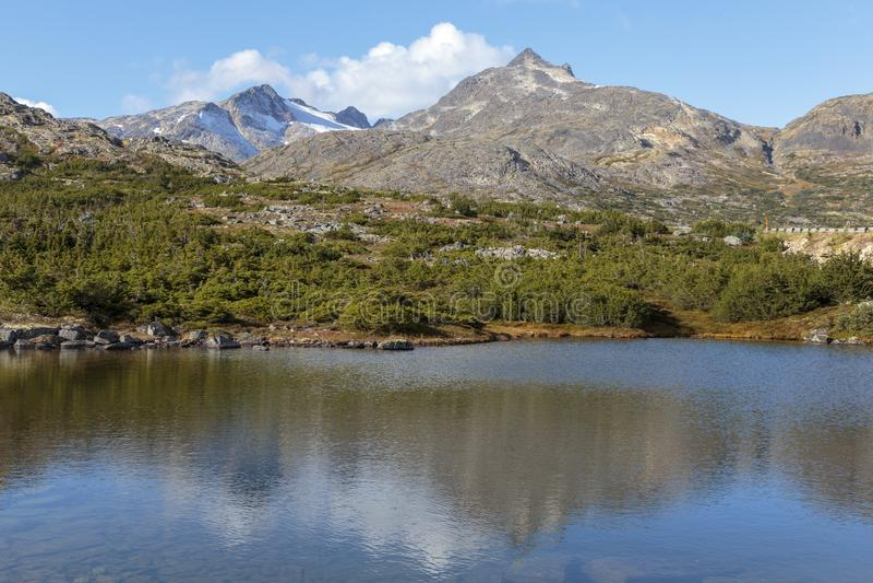 Topmeer dichtbij de Klondike-Weg in Yukon stock afbeelding