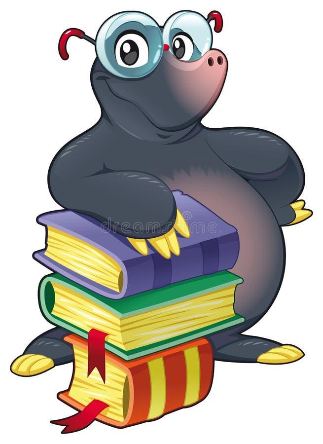 Topo con los libros. stock de ilustración