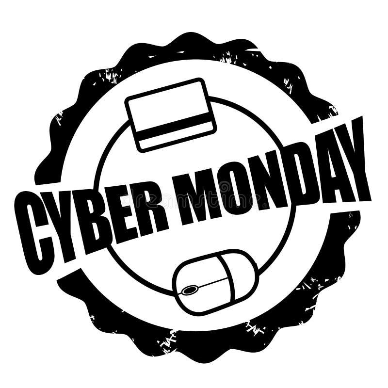 Topo cyber di lunedì e bollo della carta di credito illustrazione vettoriale