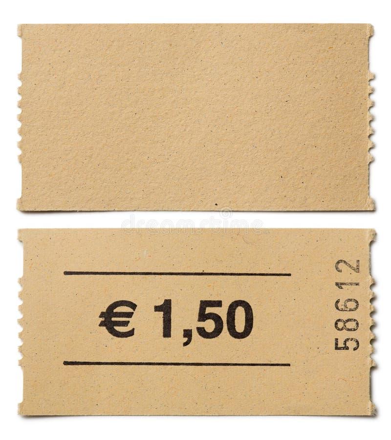 Topo de bilhete isolado foto de stock