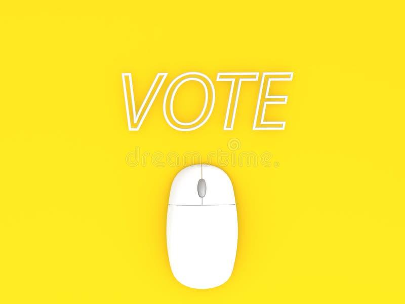 Topo del computer ed il contesto giallo del fondo di parola VOTO royalty illustrazione gratis