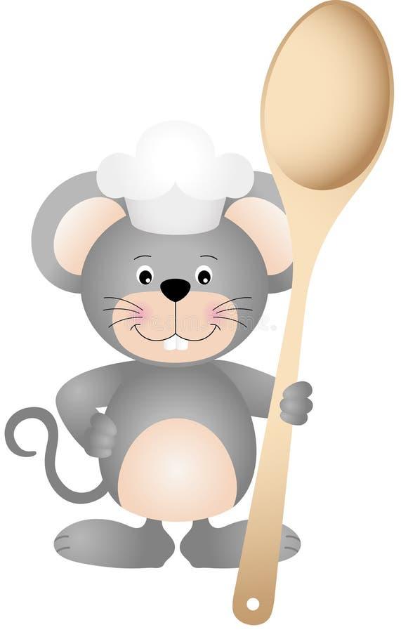 Topo del cuoco con il cucchiaio di legno royalty illustrazione gratis