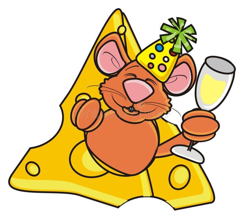 Topo di Brown che tiene un vetro di champagne e che dà una occhiata da un pezzo di formaggio illustrazione di stock