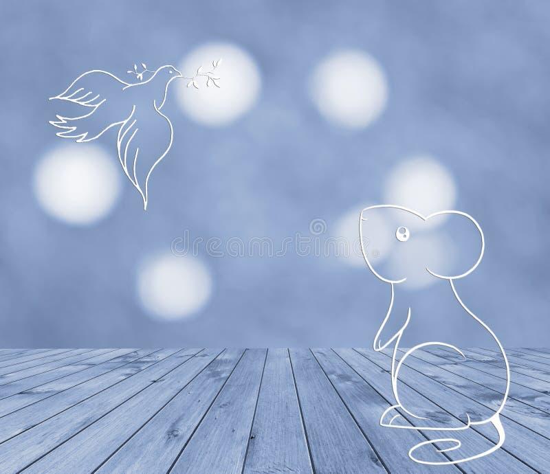 Topo e colomba su fondo blu Da portare in tavola di legno vuoto blu per il vostro montaggio dell'esposizione del prodotto immagini stock