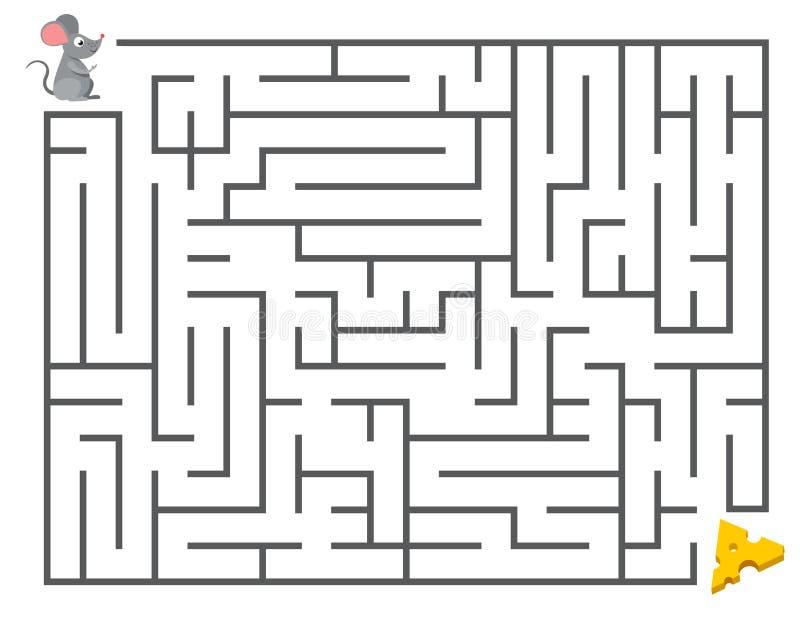 Topo sveglio che cerca formaggio Scherza il puzzle del labirinto, illustrazione di vettore del labirinto illustrazione di stock