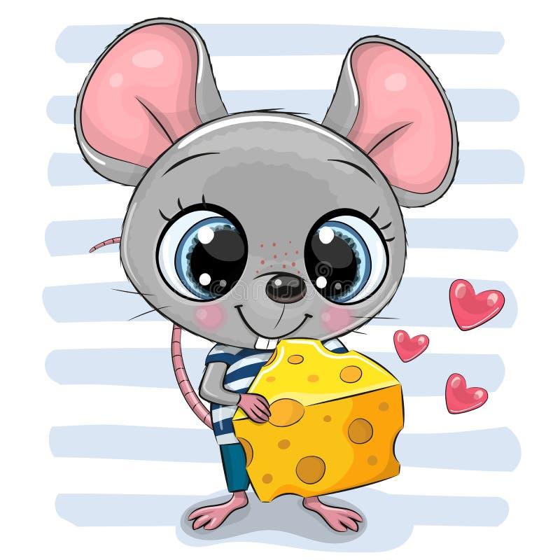 Topo sveglio del fumetto con formaggio illustrazione di stock