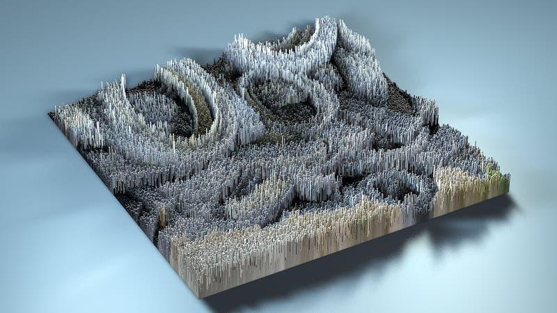 topografía de la representación 3d con los cubos foto de archivo