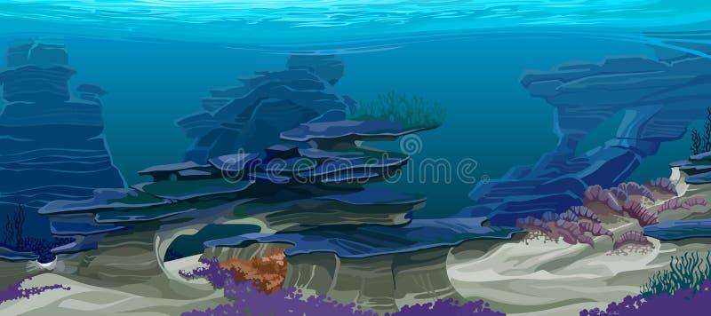 Topografía subacuática stock de ilustración