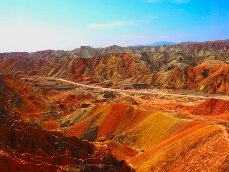 Topografia colorida de Danxia, Zhangye, Gansu, China fotografia de stock