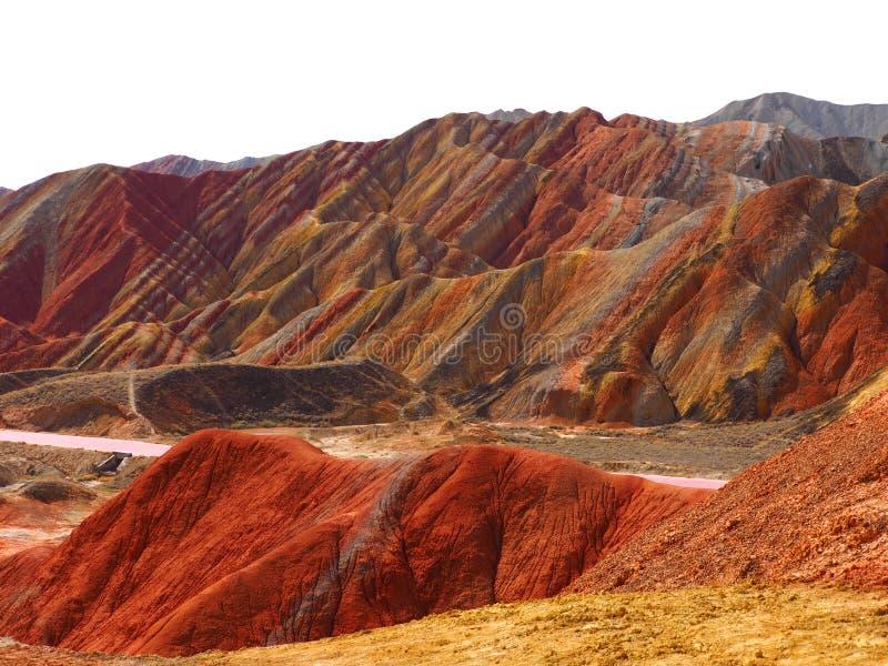 Topografia colorida de Danxia, Zhangye, Gansu, China foto de stock