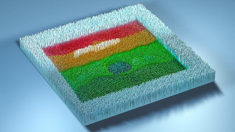 topografia da rendição 3d com cubos ilustração stock