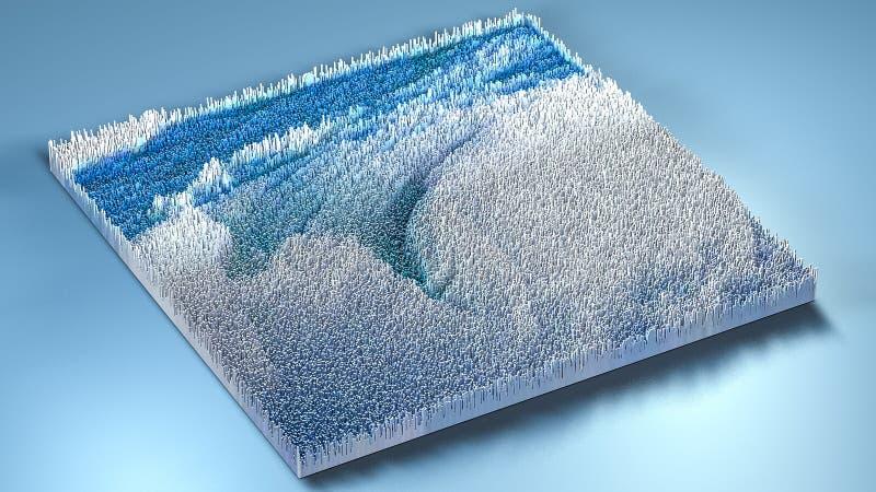 topografia da rendição 3d com cubos ilustração do vetor