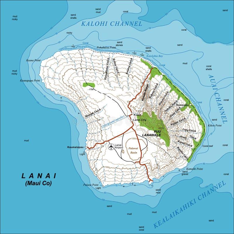 Topographic översikt av den Lanai ön Hawaii stock illustrationer