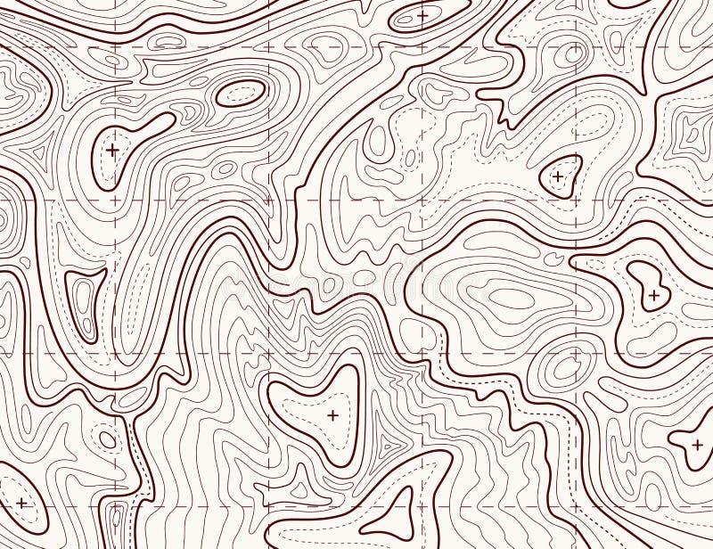 topographic översikt Slinga som kartlägger rastret, linje textur för konturterränglättnad Kartografibegrepp stock illustrationer