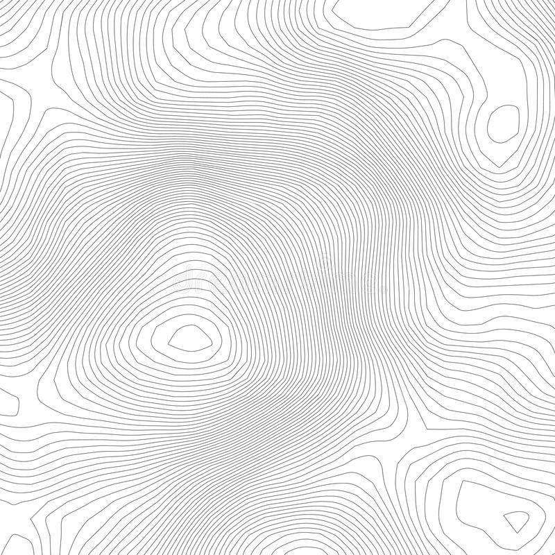 Topographic abstract contour map background. Elevation map. Hollow curved outline. Topological map vector.Geography and royalty free illustration