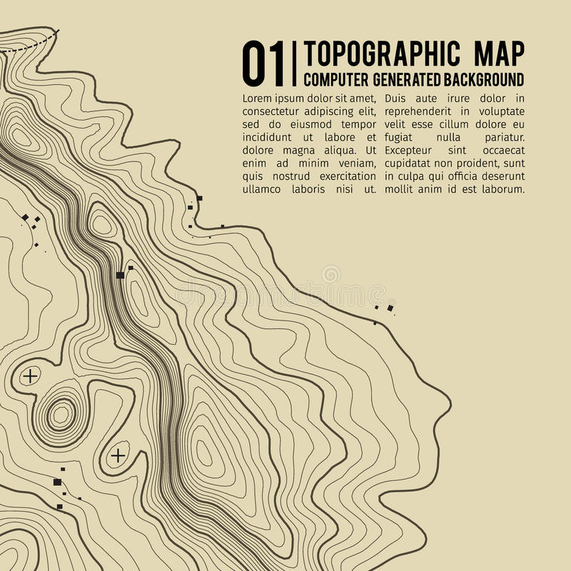 Topographic map background with space for copy . Line topography map contour background , geographic grid abstract. Vector illustration . Mountain hiking trail royalty free illustration