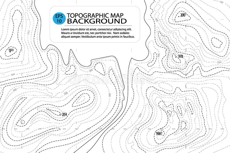 Topographic map background with text. Contour topography map, geographic grid. Abstract vector illustration. Topographic map background with text. Contour vector illustration
