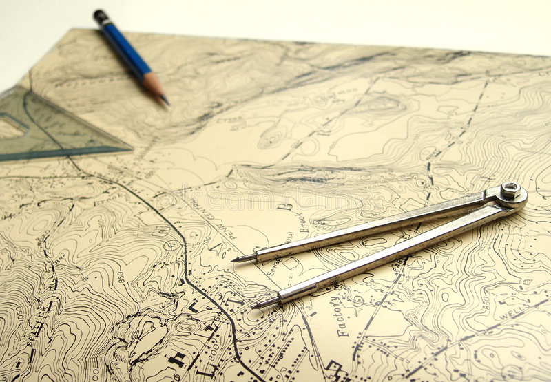 Topographic map with pencil. An image showing a topographical map - a land plan with hills, mountains, valley, river, lakes and other topographic features