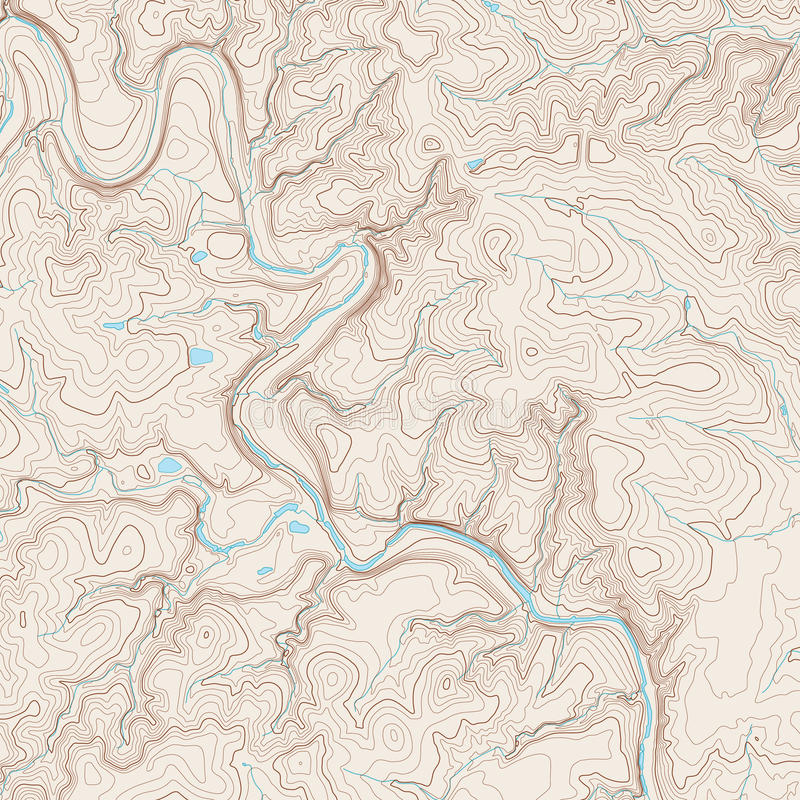 Topographic Map. Realistic Topographic map of an area west of Austin, Texas. Vector map is layered with isolines, rivers, bodies of water and background on