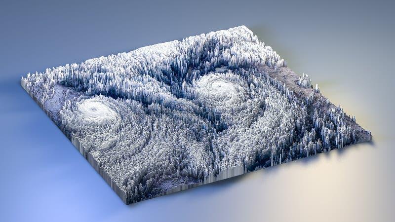 Topographie der Wiedergabe 3d mit Würfeln lizenzfreie abbildung