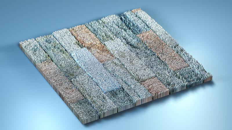 topographie du rendu 3d avec des cubes illustration stock