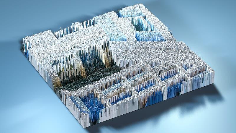 topographie du rendu 3d avec des cubes illustration libre de droits