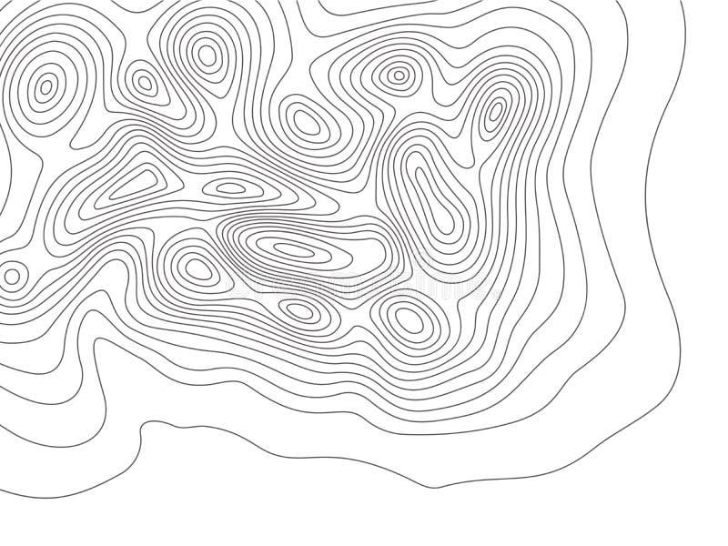 Topographiekarte Kartographiegebirgstiefenlinien, Aufzugkarten und umrissene Linie Topologievektorhintergrund mit Erde bedecken stock abbildung