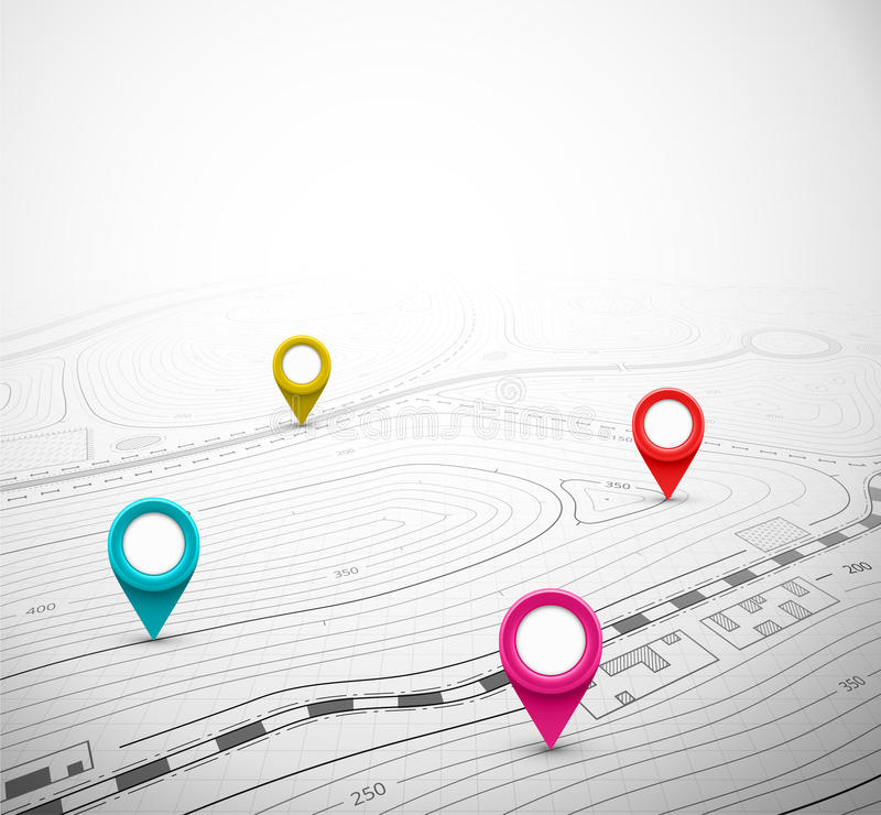 Topographische Karte mit Pin lizenzfreie abbildung