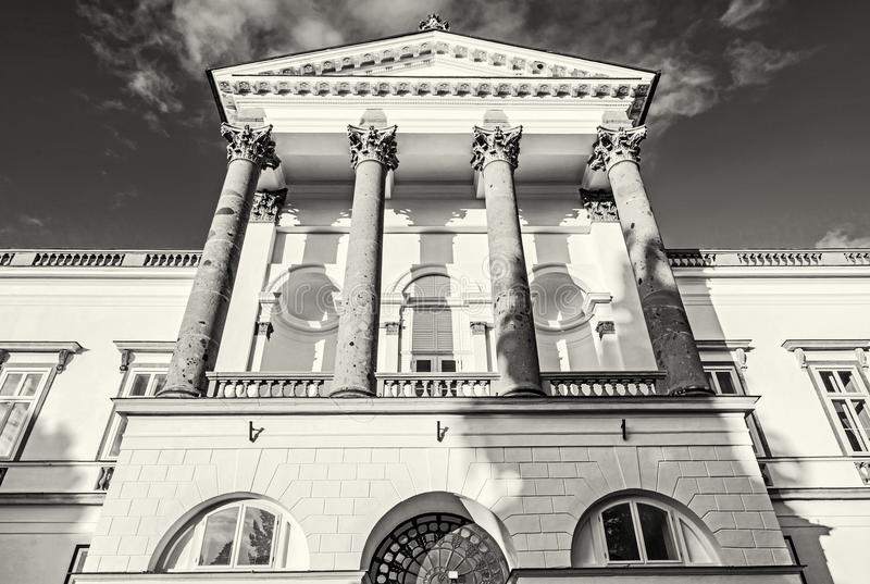 Topolcianky城堡细节照片,无色 免版税库存图片