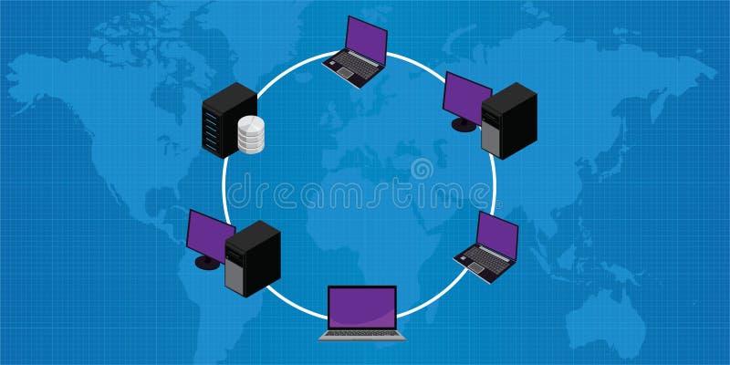 Topologia pallida dell'anello di lan della connessione di rete illustrazione di stock