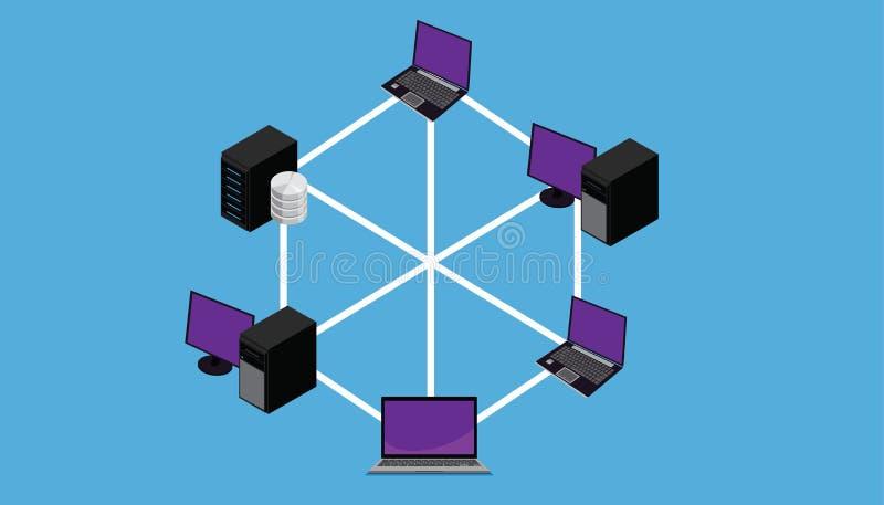 Topologie blême de LAN de pleine connexion de réseau illustration libre de droits