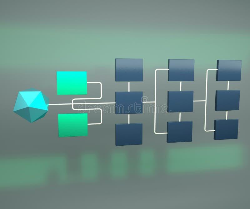 Topologie de réseau d'affaires 3d rendre Concept de hiérarchie de réseau illustration libre de droits
