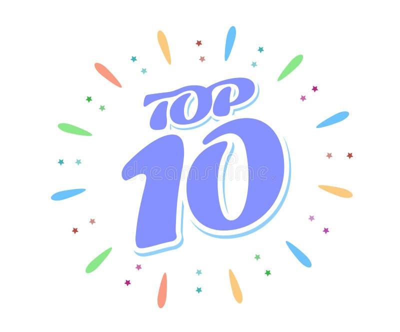 Topp 10 bl?tt ord inom fyrverkerier p? vit bakgrund En kul?r volyminskrift vektor illustrationer