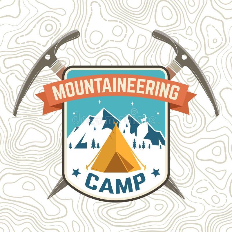 Toppa del campo di alpinismo Vettore Concetto per la camicia o distintivo del club alpino, stampa, bollo o T Tipografia d'annata royalty illustrazione gratis