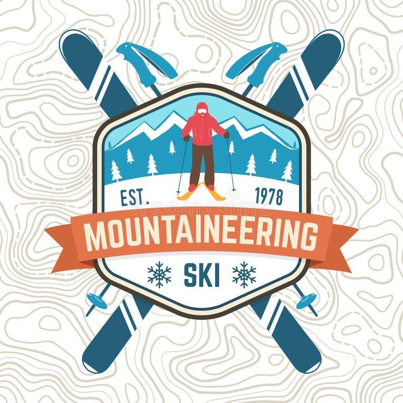 Toppa dello sci di alpinismo Distintivo del club dello sci di vettore retro Concetto per la camicia del club alpino, stampa Proge royalty illustrazione gratis