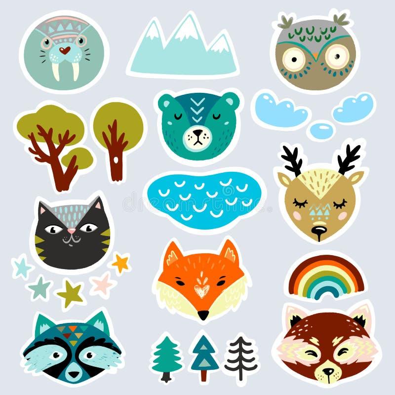 Toppa, distintivo, insieme dell'autoadesivo con i fronti disegnati a mano dell'animale selvatico illustrazione vettoriale