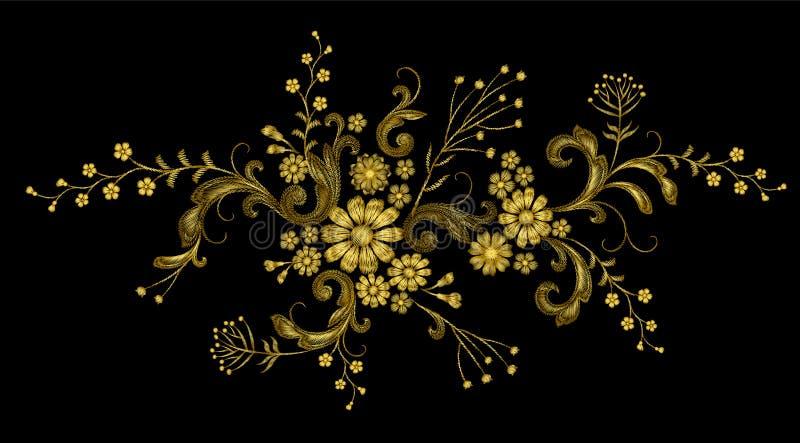 Toppa realistica di modo del ricamo di vettore del filo dorato La margherita rosa del fiore lascia la progettazione vittoriana d' illustrazione di stock