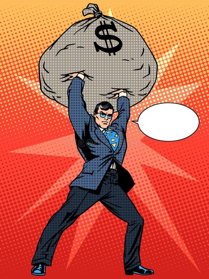 Toppen affärsmanhjälte med en påse av pengar vektor illustrationer