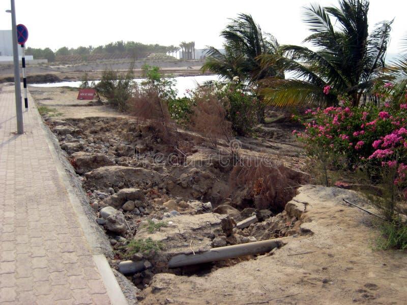 Toppen cyklonartad storm Gonu Muscat Oman Juni 1, 2007 arkivfoton
