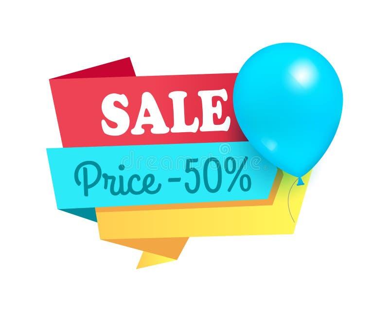Toppen för rabattSale för pris 50 etikett för ballonger etikett vektor illustrationer