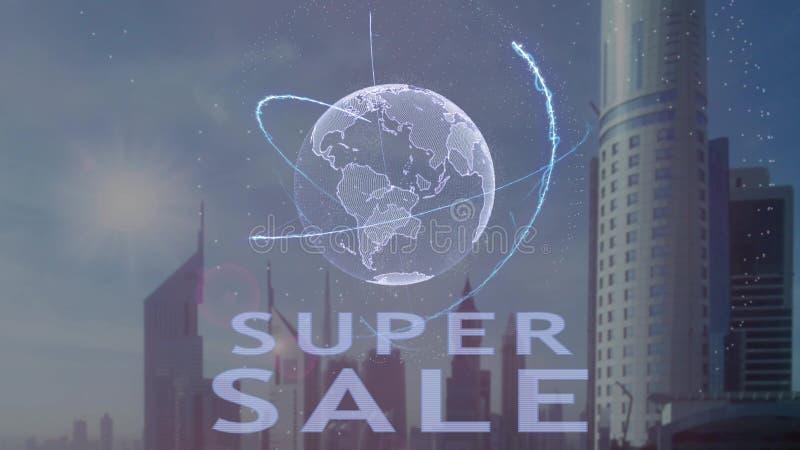 Toppen f?rs?ljningstext med hologrammet 3d av planetjorden mot bakgrunden av den moderna metropolisen stock illustrationer